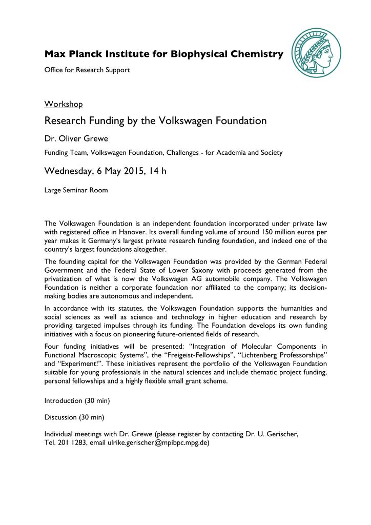 Veranstaltung VW-Stiftung_052015